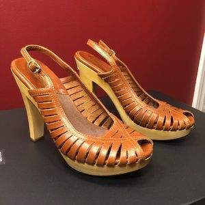 Michael Kors Brown Leather Wooden Heels Sa…